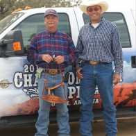 Caption: Randy Bailey and Frank Harasimuik - Truck Roping Champions